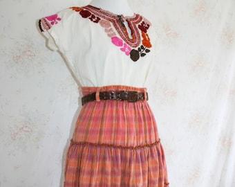 Vintage 70s Prairie Skirt, 1970s Madras Plaid, Ethnic Woven, Boho