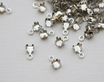 3.2mm Silver Fold Over Cup Chain Ends. Fits 3.2mm Cup Chain - 50pcs