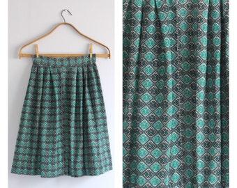 Vintage 1960's Corduroy Teal Green Tile Print Pleated Midi Skirt XS/S