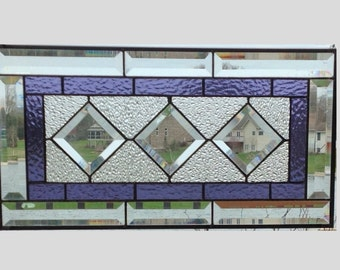 Beveled purple stained glass window panel diamond geometric stained glass panel window hanging cabinet insert DP1