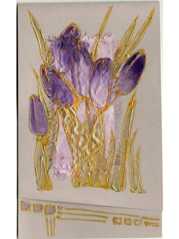 Purple Tulips - blank art greeting card for any event - handmade greeting card - original painting lilac gold yellow spring flowers - OOAK
