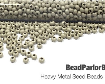 Beige Plated Metal Seed Beads - Size 6/0 - 39 grams
