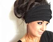 FREE SHIPPING- Black Scrunch Headband, Extra Wide Headband, Jersey Headband, Extra Wide Jersey Headband, (women, teen girls)
