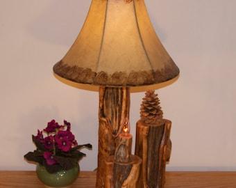 Rustic log lamp  - Wood lamp - Aspen lamp - Rustic home decor