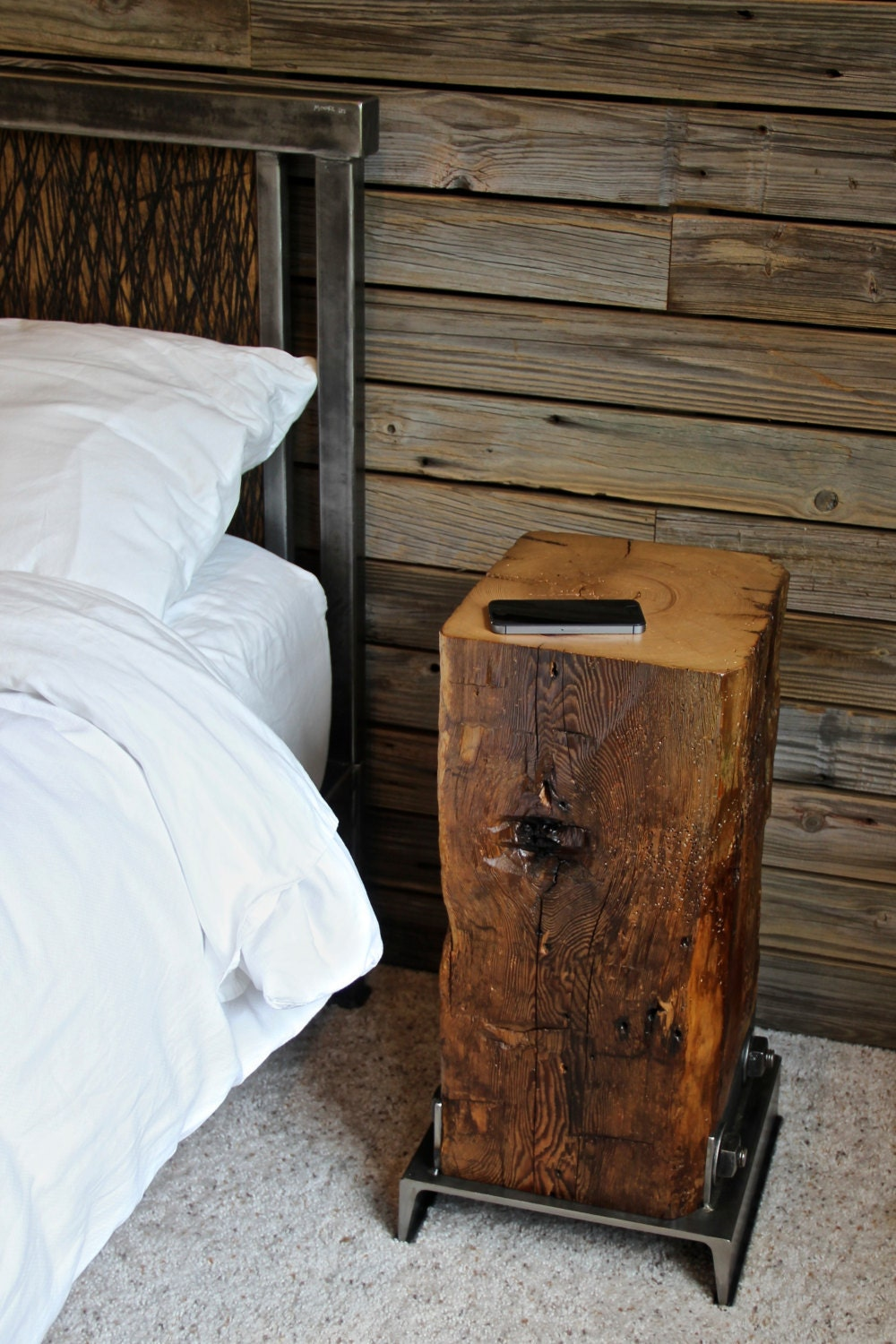 Hand hewed barn beam wood side table Furniture made from barn wood