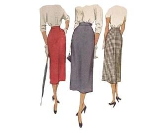Womens Mid Calf Skirt Pattern McCall 8444 High Waist Flat Front Slim Sheath Midi Skirt Waist Size 28 Vintage 1950s Sewing Pattern