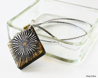 Silver Starburst Pendant, Black Clay Pendant, Gold Burst Pendant, Clay Metallic Pendant, Polymer Clay Jewelry, Sterling Silver Necklace