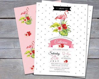 "FLAMINGO Baby Shower Invitation - Tropical -  Personalized - 7""x5"" - Print Your Own - DIY"