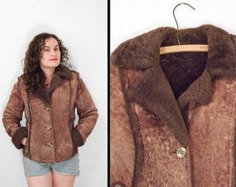 1970s SHEARLING Jacket Leather Attic Small Sheepskin Leather Dusted Cocoa Brown