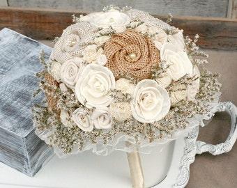 Rustic Bride Bouquet - Lace, Burlap // Ivory Cream, Dried Flower Wedding Bouquet, Bridal Bouquet, Shabby Chic, Flower Bouquet