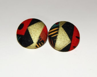 Fabric Covered Button Earrings- GRB
