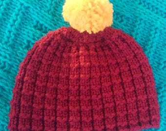 Knitted Maroon and Gold Pom-Hat