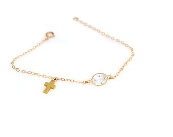 14 Yellow Gold Quartz and Gold Cross Bracelet