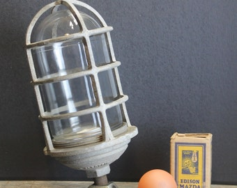 Vintage Exterior Caged Industrial Light Fixture // RAB Electric NYC // Steampunk Urban Fixture