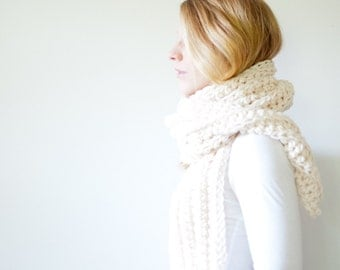 chunky extra long crochet scarf - fisherman - open ended - the OSLO
