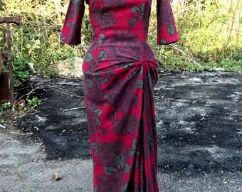Rose Print Cotton Maxi Dress