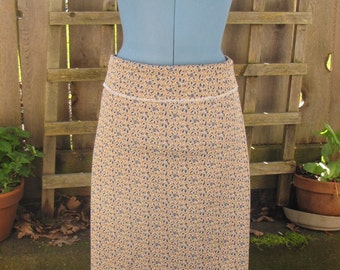 Funky Floral A Line Skirt/ Eco Reclaimed Vintage Retro Poly Stretch Knit Knee Skirt Medium