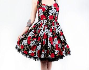 Skull and roses dress- Rockabilly