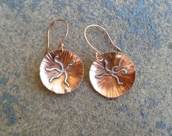 Brittle Star Earrings, Copper, Sterling Silver