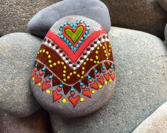 Love Tribe / Navajo / tribal love / painted rock / Sandi Pike Foundas / love from Cape Cod/ sea stone / southwest