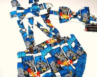 Boys cake smash 1st birthday handmade from Batman fabric  Suspenders. Bowtie. Diaper cover/bloomers.  tie. cake smash.Boy. Toddler.