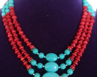 Gorgeous Red Coral and Turquoise Multi Strand Necklace