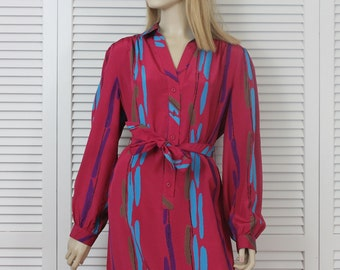 Vintage Schrader Sport Striped Shirtwaist Dress Size 14/16 1970s