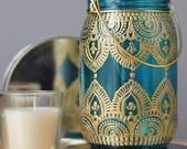Gypsy Decor Mason Jar Candleholder, Turquoise Glass with Gold Detailing