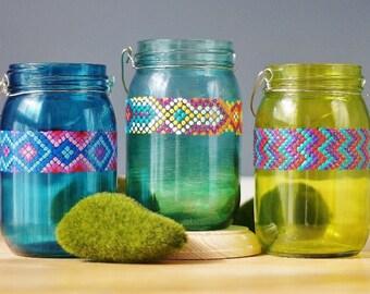 Summer Home Decor Gift, Friendship Bracelet Inspired, Chevron Design, 3 Mason Jar Lanterns, Mason Jar Gift, Summertime Decor, Beach House