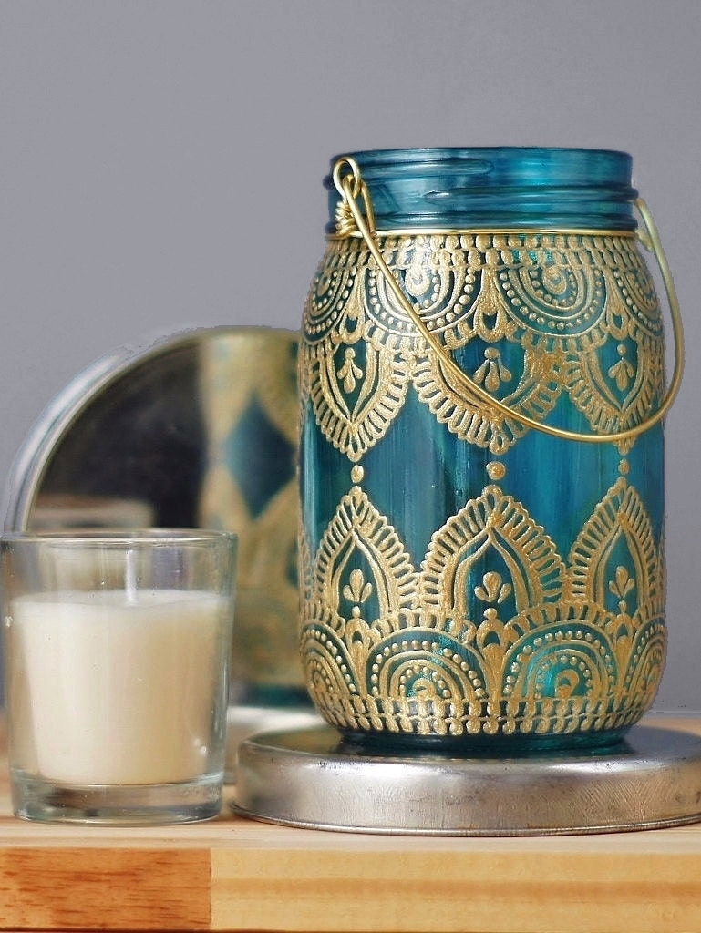 Gypsy Decor Bedroom Gypsy Decor Mason Jar Candleholder Turquoise Glass With Gold