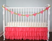 Coral - Gold Metallic Chiffon Bumperless Crib Bedding