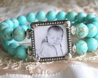 Turquoise Photo Bracelet Picture bracelet Mom Gift Photo Gift  Grandmother gift Picture jewelry, Photo charm bracelet Turquoise bracelet