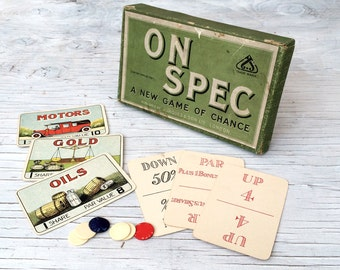"Antique game by J.Jaques & Sons, Hatton Garden, London: The game of ""On Spec"". Collectable rare game."