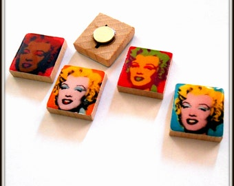 Andy Warhol Marilyn Monroe Pop Art Scrabble Tile Magnet Set of 4