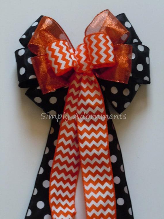 Black and Orange Bow Chevron and Polka Dots Birthday Decoration Wedding Pew Bow Halloween Wreath Bow