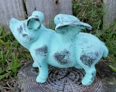 Large Cast Iron Aqua Shabby Flying Pig