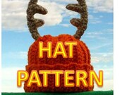 Instant Download - Crochet Baby Deer Antler Hat - Daddy's Little Deer Hunter Crochet Hat with Antlers PDF Pattern  Newborn / 3-6 Months Baby