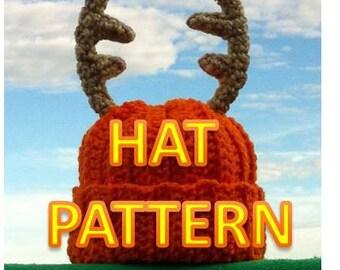 Instant Download - Daddy's Little Deer Hunter Crochet Hat with Antlers PDF Pattern - Newborn / 3-6 Months Baby