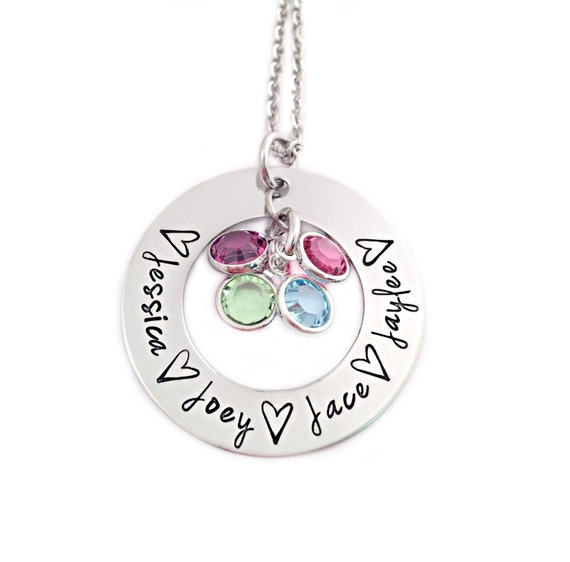 personalized name and birthstone necklace mothers day. Black Bedroom Furniture Sets. Home Design Ideas