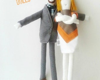 Personalized couple fabric dolls, custom portrait cloth dolls, family dolls from picture, unique wool anniversary wedding gift for couples