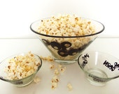 1970s Mod Popcorn Bowl Set Snack Set *Price Includes Domestic Shipping