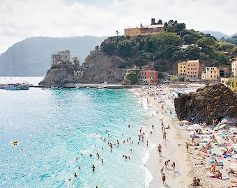 Monterosso Overlook Wall Art Print, Cinque Terre Beach Photo, Italy Artwork