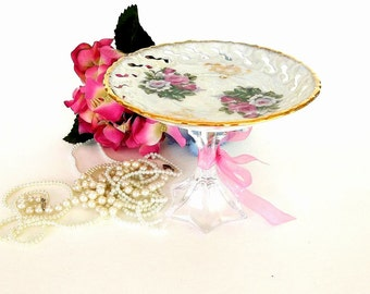 Cupcake stand single tier roses lusterware dessert stand tea party jewelry trinket, candy stand, crystal vintage china plate, soap dish