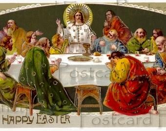 EASTER Last Supper Vivid VINTAGE Postcard, Instant DIGITAL Download
