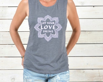 Let Your Love Shine - Muscle Graphic Tee Shirt   -