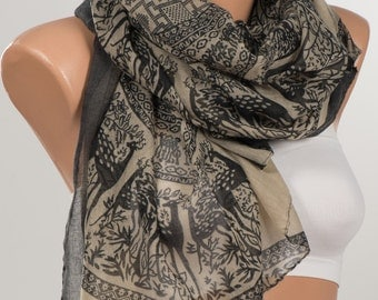 NEW Scarf wrap or Shawl wrap . Holiday scarf. Silky touch. Beige and Black deers pattern oversize scarf pareo shawl . FREE Shipping.