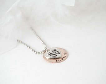 Midwife Gift Hand Stamped Disk Necklace - Heart Feet Charm - Birthing Gift Jewelry - Midwife Jewelry