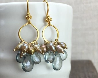 Green Quartz and Pearl Earrings, Mystic Quartz Briolettes and Freshwater Pearl Jewelry on 24k Gold Vermeil Findings, Item No. E-986