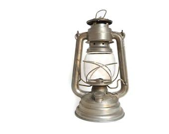 Vintage Yugoslavian Kerosene Lamp - Luna N. 100 Railroad Lantern, Aluminum Silver, Made in Yugoslavia - 1950s