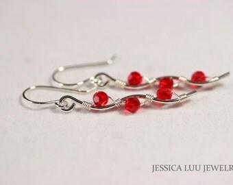 Red Swarovski Earrings Wire Wrapped Jewelry Handmade Sterling Silver Jewelry Handmade Swarovski Crystal Earrings Swarovski Crystal Jewelry